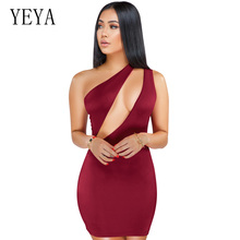YEYA Summer Dresses 2019 One Shoulder Black Bandage Bodycon Mini Dress Cut Out Party Night Club Dress Cheap Clothes China black cut out cold shoulder half sleeves dress