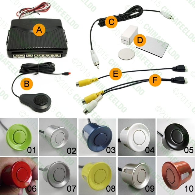 10-Color Car 6 Sensors Dual Visual Front Rearview Video Parking Sensor Backup Radar System #J-2656