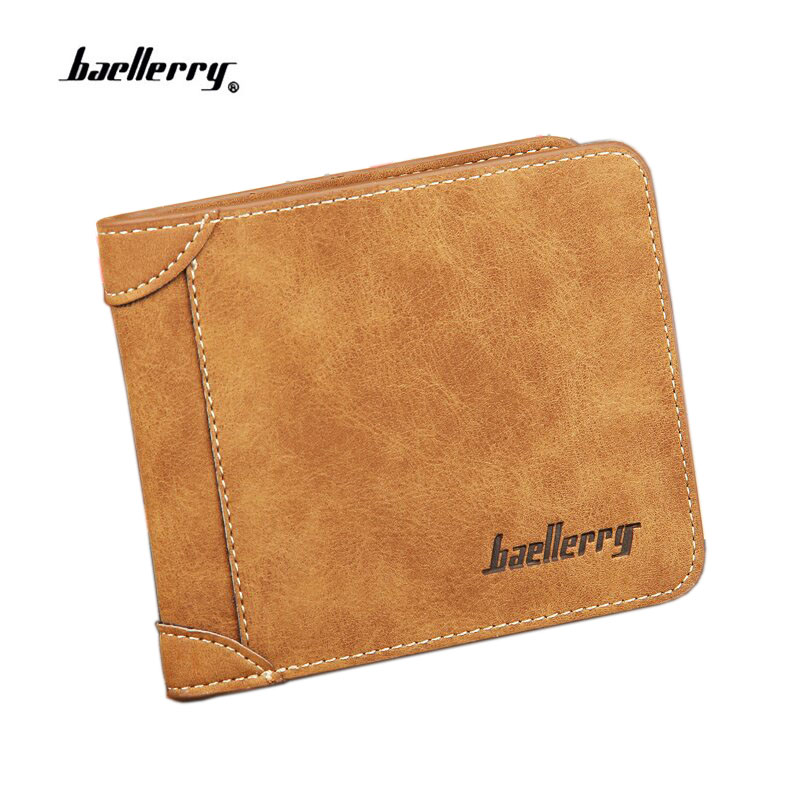 Baellerry HOT High Quality Men Wallets Vintage PU Nubuck Skin Short Purse Luxury Famous Brand Men's Three Folds Wallet For Man vicuna polo italy famous brand men wallet high quality pu leather trifold wallet large capacity short metal wallet for man