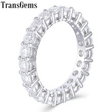 TransGems Solid 14K 585 White Gold Moissanite Diamond Eternity Wedding Band Engagement Anniversary Ring for Women