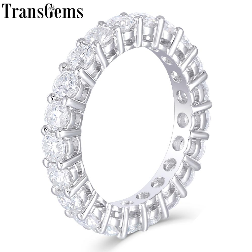 1b61282c8236a TransGems Solid 14K 585 White Gold Moissanite Diamond Eternity Wedding Band  Engagement Anniversary Ring for Women