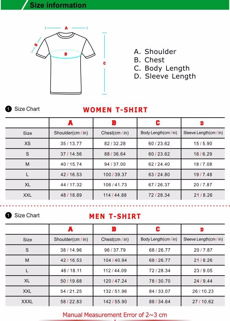t shirt sizing info