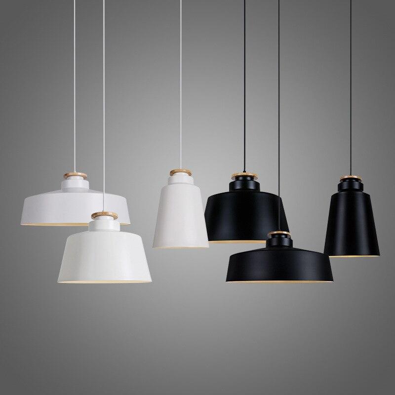 Modern Pendant Light Wood Aluminum Lamp E27 Socket Loft Hanging Light 3 Styles White Black Fixture Industrial Lighting WPL069