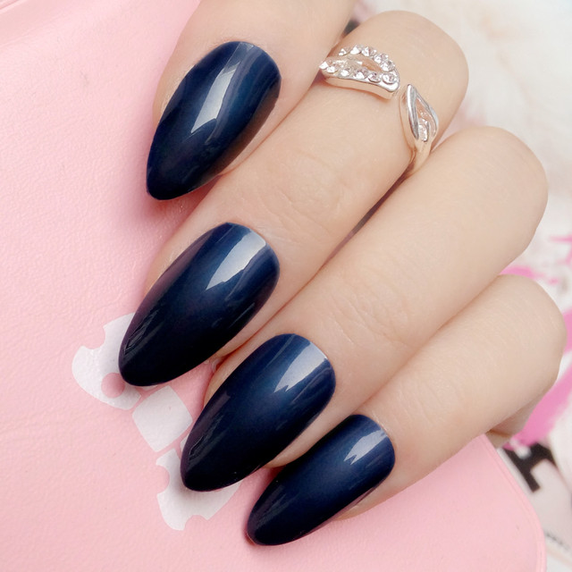 Fashion Navy Blue Fake Nails Candy Color Short Stiletto Tips Acrylic Full Cover False