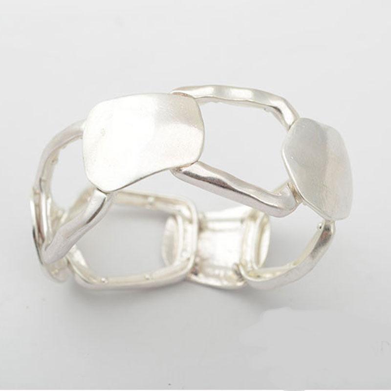 Noi brățări de argint lustruite lucioase Hollow Women / Men - Bijuterii de moda - Fotografie 2