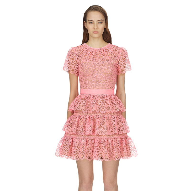 2018 summer o neck cute pink lace dress high quality