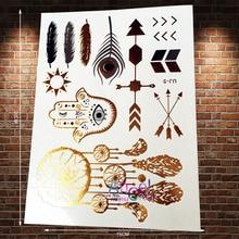 1PC Hot Body Art Gold Tattoo Dreamcatcher Hamsa Hand Eye Peacock Feather Arrow Tatoo Flash Metallic Temporary Tattoo Sticker AJ5