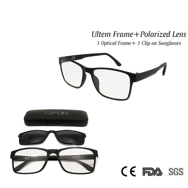25371ed4c7 New Eyeglass Magnetic Clip on Sunglasses Polarized Lens Ultem Eyewear  Frames Women Men Unisex in Clear Fashion Lens UV400 Shadow