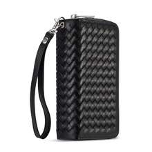 hot deal buy braid leather zipper wallet case for iphone xs max xr lanyards bag detachable flip cover case for iphone xr x xs max pouch