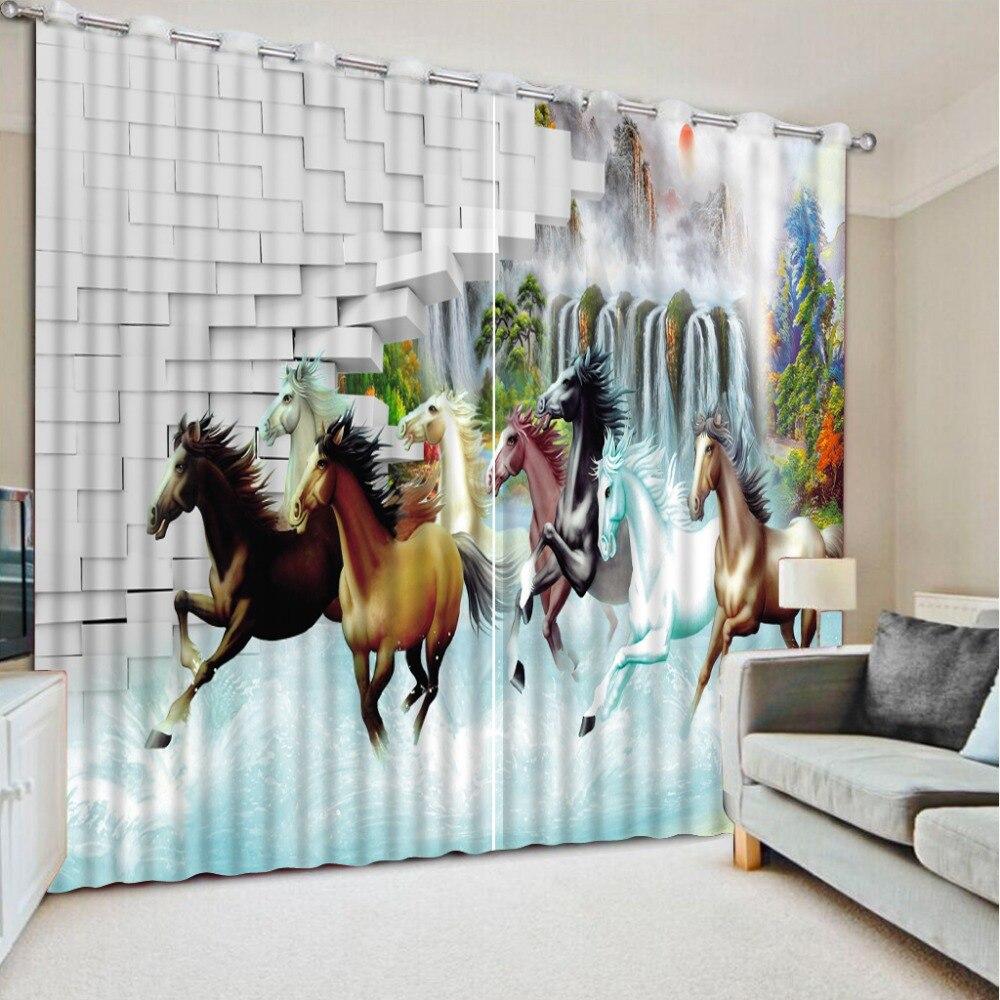 3D impression rideau huit cheval impression épaissir complet occultant rideau pour enfants pour fenêtre salon CL-DLM758