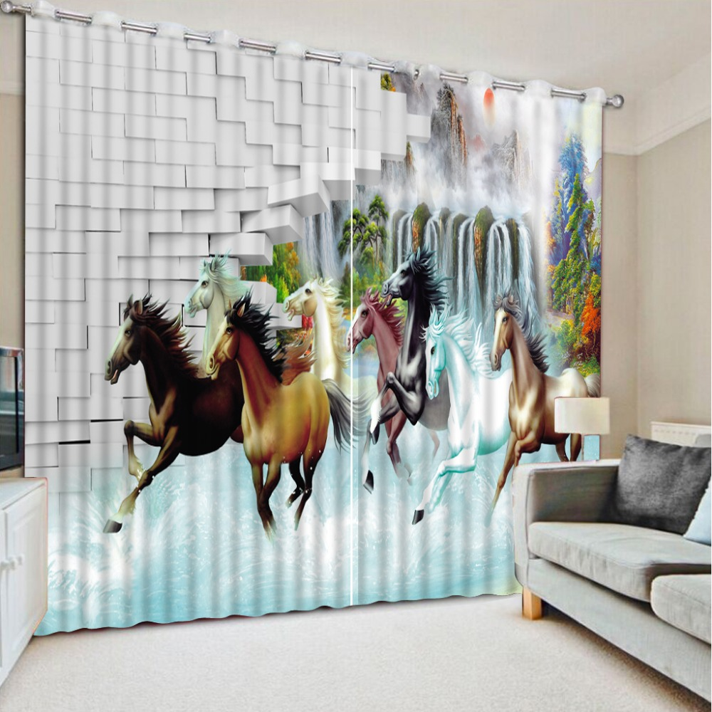 New 3D Print Curtain Eight Horse Printing Thicken Full Blackout Children's  Curtain for Window Living Room