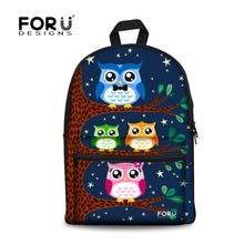 FORUDESIGNS Designer Teenager Girls Canvas Backpacks 3D Cute Owl Children Backpack Casual Kids School Back Packs Mochila Escolar