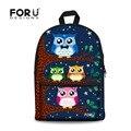Forudesigns diseñador niñas adolescente mochilas 3d búho lindo de los niños mochila de lona casual kids school back packs mochila escolar
