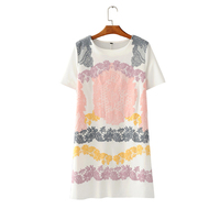 Womens Colored Flowers Pressed Plastic Dress White Cotton Summer Casual Knee Dress Small Round Neck Short