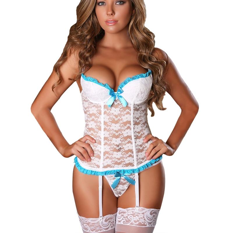 23c818fcfe24 Lencería de mujer Sexy exótica ropa sexual encaje perspectiva corsé Sexy  ropa interior Mujer Babydoll vestido mujeres disfraces talla grande