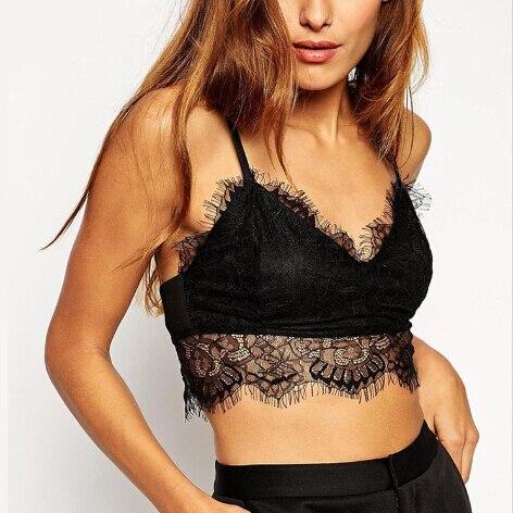d3a52b51d0c Sexy party Black strappy bra lace crop top crochet camiseta de tirantes lace  bralette bralet