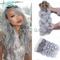 8A Brazilian Virgin Hair Weave 3 Bundles With Ear to Ear 13x4 Lace Frontal Closure Body Wave Silver Grey Natural Hairline