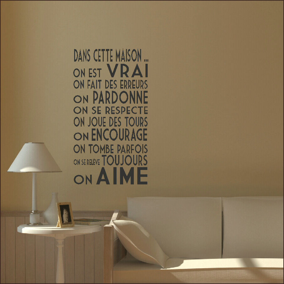Home decoration for french homes dans cette maison wall for Stickers dans cette maison
