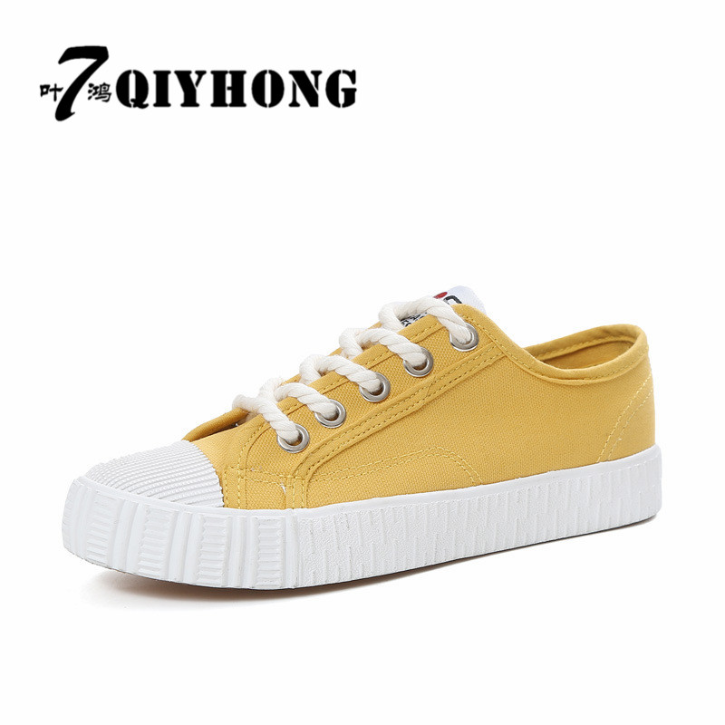 QIYHONG2017 Fashion Women Canvas Shoes Low Breathable Women Solid Color Flat Shoes Casual White Leisure Cloth Shoes Size 35-40 e lov women casual walking shoes graffiti aries horoscope canvas shoe low top flat oxford shoes for couples lovers