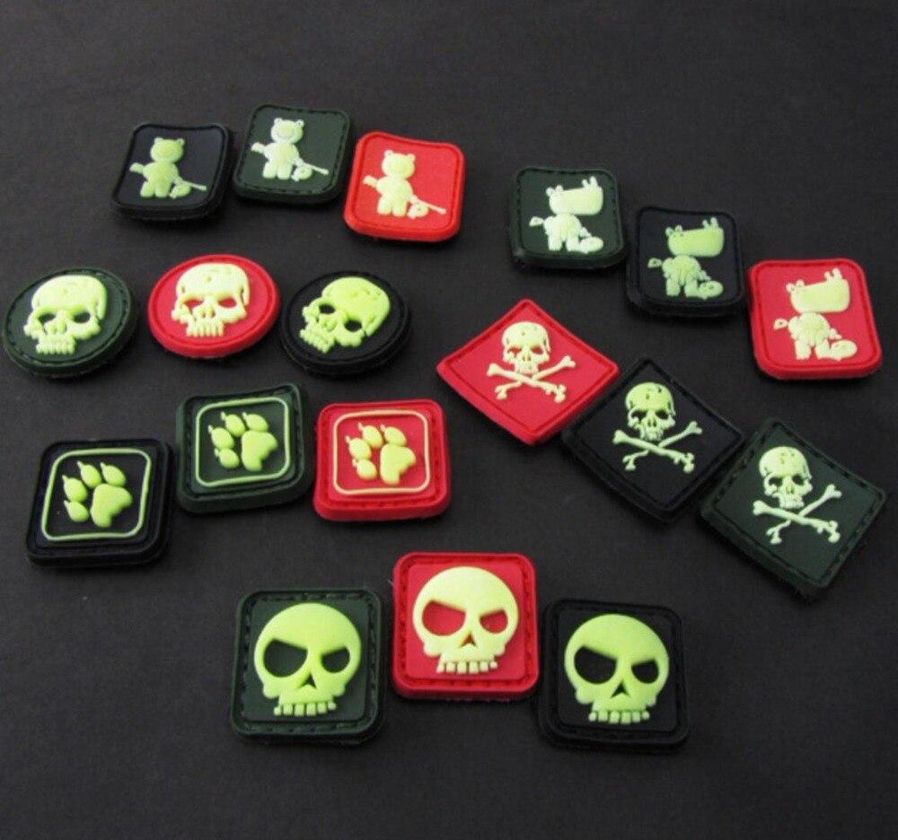 6268e89ff8a 2pcs Small Rubber TAD Bear Skull Patch 3D PVC Skeleton Hook Mini Tactical  Badge Military Morale