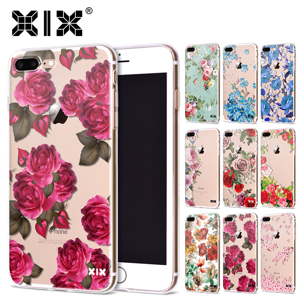 Xix Soft Silicone Tpu Case For Iphone 7 Plus Fashion Flowers