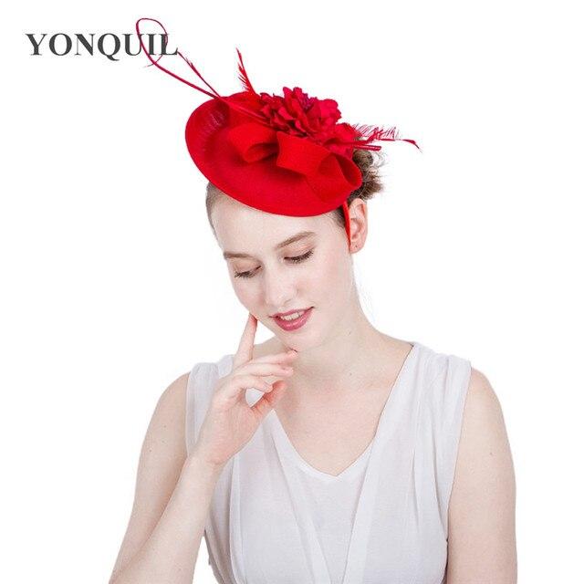Brand hat for elegant women wedding red fascinator hat silk flower headband  craft summer church cocktail 6ed01e90c0aa