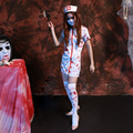 Las Mujeres Traje de Enfermera Sexy Enfermera Scary Zombie Scary Halloween adulto Del Vestido de Lujo de Halloween Partido Cosplay Spooky Salpicaduras de Vestuario