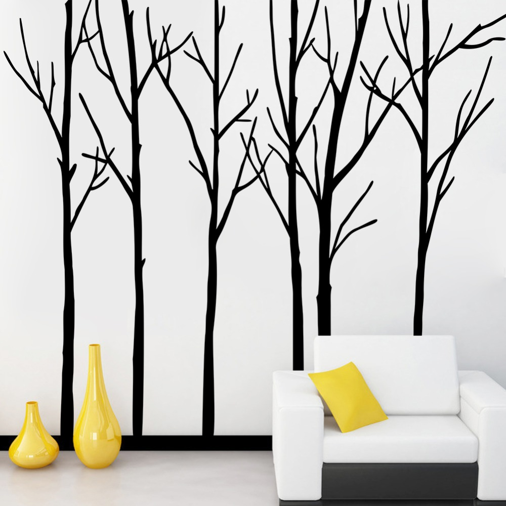 e7be7a14618f Cozy&Homy Winter Tree Wall Decal Forest Vinyl Wall Art Graphics Family  Living Room Decoration(Large,black)-in Wall Stickers from Home & Garden on  ...