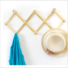 10 Hooks Retractable Home Hat Coat Key Hanger Hook After The Door Wall Bath  Wood Hanger