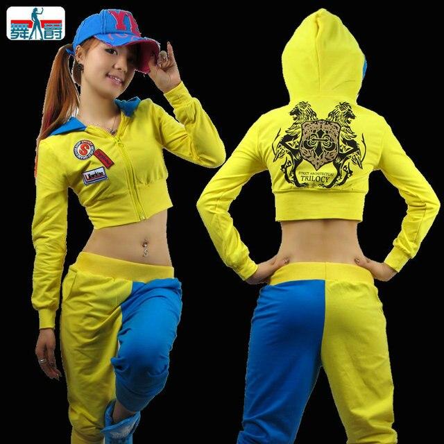 8d6e70d486b21 New Fashion dança hip hop top curto casaco de moletom feminino Jazz neon traje  desgaste desempenho