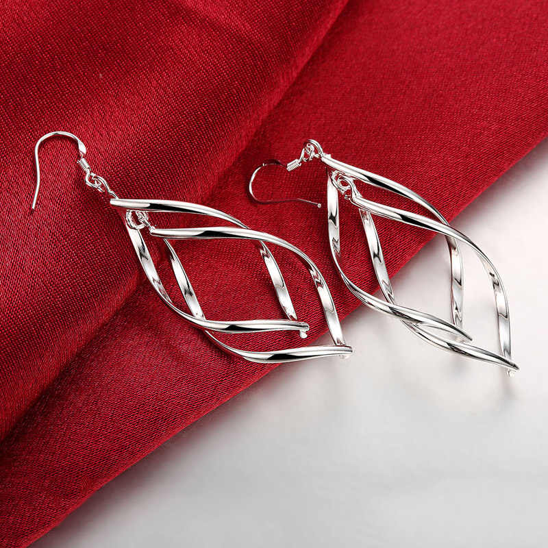 2020 New Arrival 925 Warna Perak Perhiasan Wanita Kualitas Tinggi Panjang Anting-Anting Menggantung Drop Anting-Anting Perhiasan