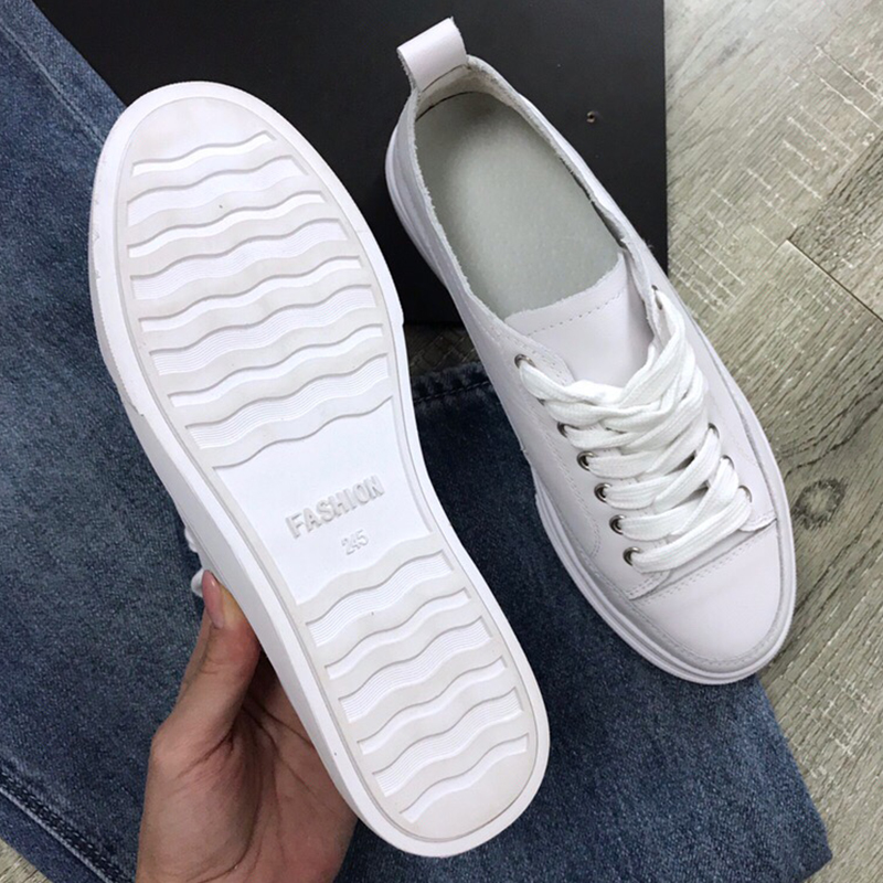 FATIKA Casual Stylish Basic Genuine Leather Sneakers Lace Up Spring Autumn Hot High Quality Thick Heels Shoes 2019 Hot New