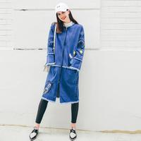 2017 Spring Autumn New Women Embroidery Letters Printed Denim Jacket Women Round Neck Casual Trench Coat