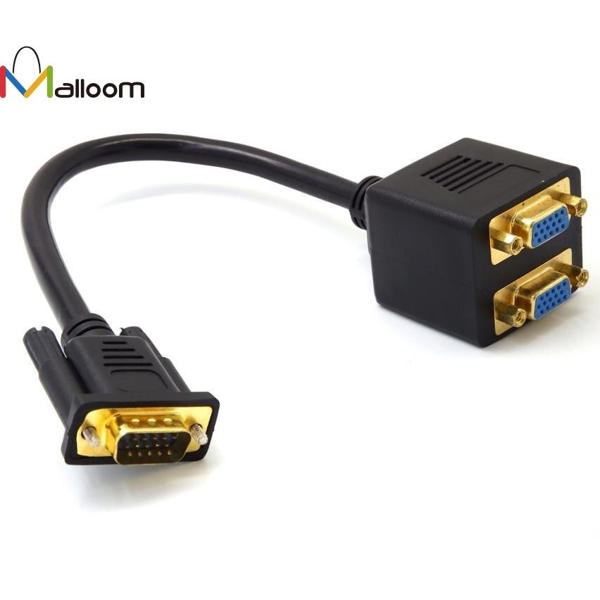 100% Quality Malloom 2018 New Arrival 30cm Pc Computer Cable 1 Vga Male To 2 Vga Female Vga Monitor Y Splitter Cable