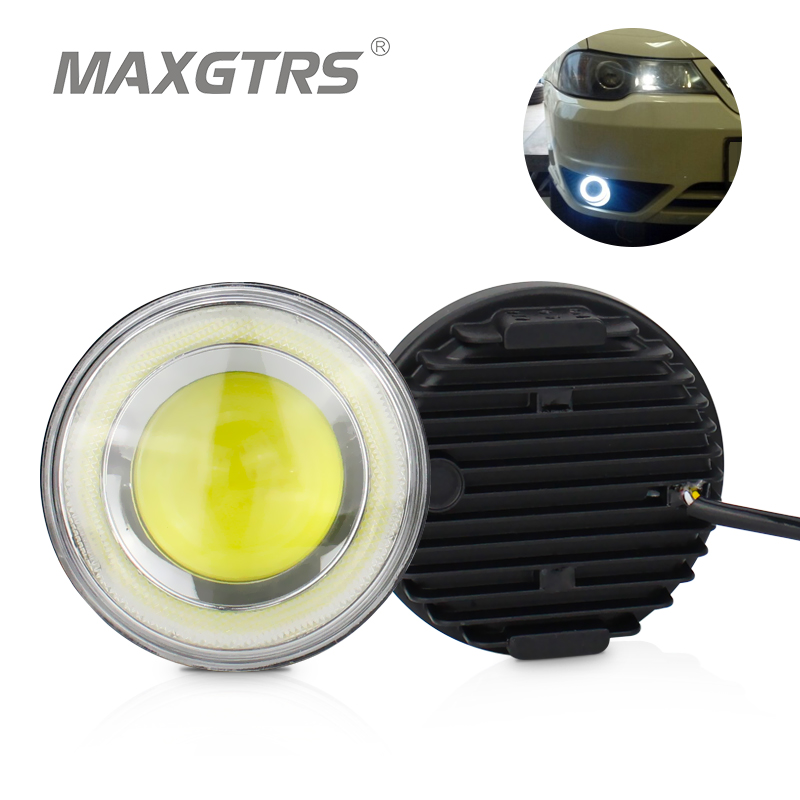 Universal 2.5 3.5 inch Car COB LED Angel Eyes Halo Rings Daytime Running Light DRL Auto Fog Assembly Foglamp For Nissan Toyota 1pair white 80mm cob car led angel eyes drl daytime running headlight halo ring driving lamp auto blub with cover 63 chips 12v