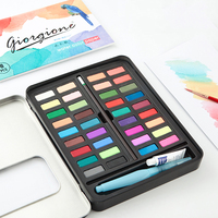 36 Colors Solid Painting Box Water Color Painting Set with Paintbrush 8 piece Set Washable for Beginners Art Supplies