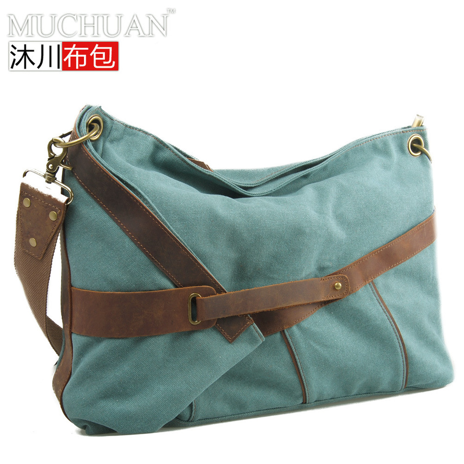 Muchuan Cloth Package Single Shoulder Span Canvas Bag With The Crazy Horse Leath