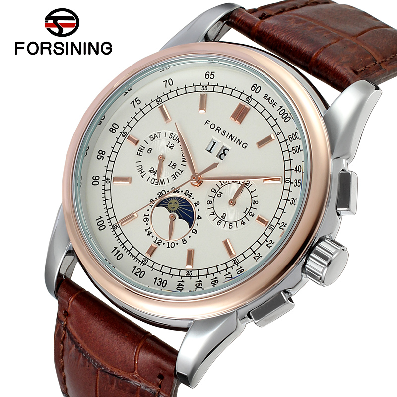 FSG319M3T1 New Automatic men dress wrist watch with moon phase brown genuine leather strap free shipping gift box whole sale цена