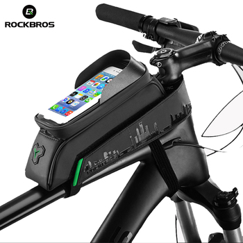 ROCKBROS Front Tube Phone Bicycle Bag Touch Screen Cycling Bike Bag Waterproof Frame Panniers For 5.8/6 Inch bmx Mtb Accessories