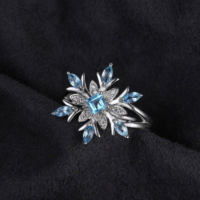 JewelryPalace Snowflake Genuine Swiss Blue Topaz Ring Solid 925 Sterling Silver Jewelry Fashion Ring for Women Christmas gift