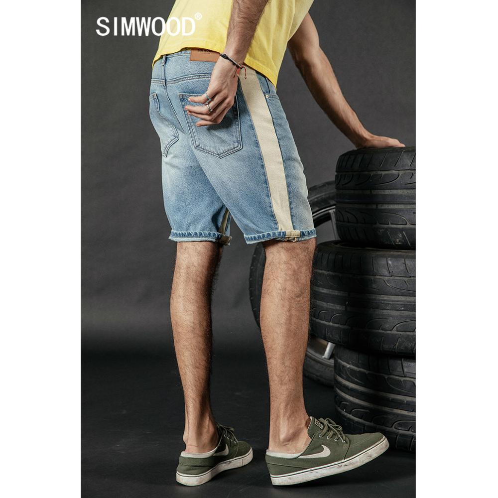 SIMWOOD 2020 Summer New Denim Shorts Men Contrast Side Patchwork Striped Knee Length Vintage Short Jeans Street Wear 190228