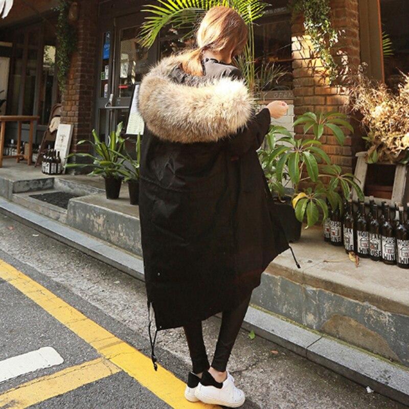 Большой меховой воротник пальто хлопка Для женщин зиму теплая куртка с капюшоном Плотные пуховики Верхняя одежда Топы Качество 1,78 60,99