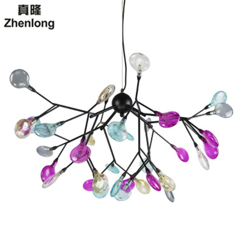 Large foyer modern Coloured glass chandelier Stair Long crystal chandelier Fixture Staircase lighting stairs Long hanging chande