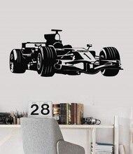 Adesivos de parede de vinil sala de jovens entusiastas de corridas de Fórmula Um carro esportivo shool 2CE15 dormitório casa decoração decalque da parede