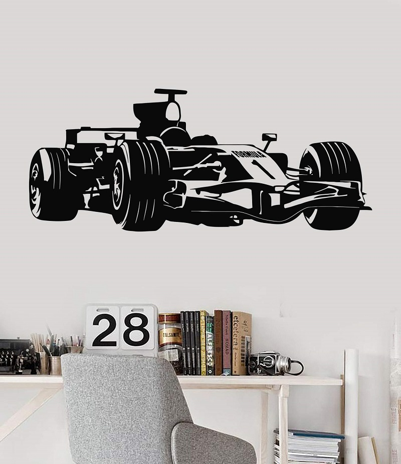 Vinyl wall stickers Formula One racing sports car enthusiasts youth room shool dormitory home decoration wall decal 2CE15 in Wall Stickers from Home Garden