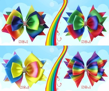 "200 BLESSING Good Girl Boutique 4.5"" Rainbow Stylish Hair Bow Clip"