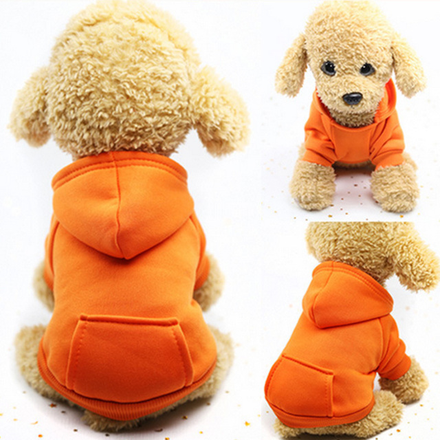 Warm Dog Clothes Pet Dog Coat Jacket for Small Dogs Chihuahua Clothes Solid Hoodies Autumn Puppy Outfits Dogs Clothing 6C4