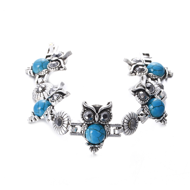 Silver Plated Vintage Owl set 4