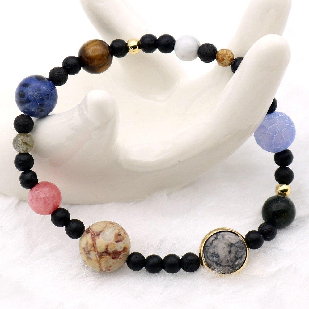 Solar System 9 Planeten Universum Sterne Frauen Büro Stil Natursteine Perlen Stretch Strang-armbänder Saturn Pluto Erde Mond