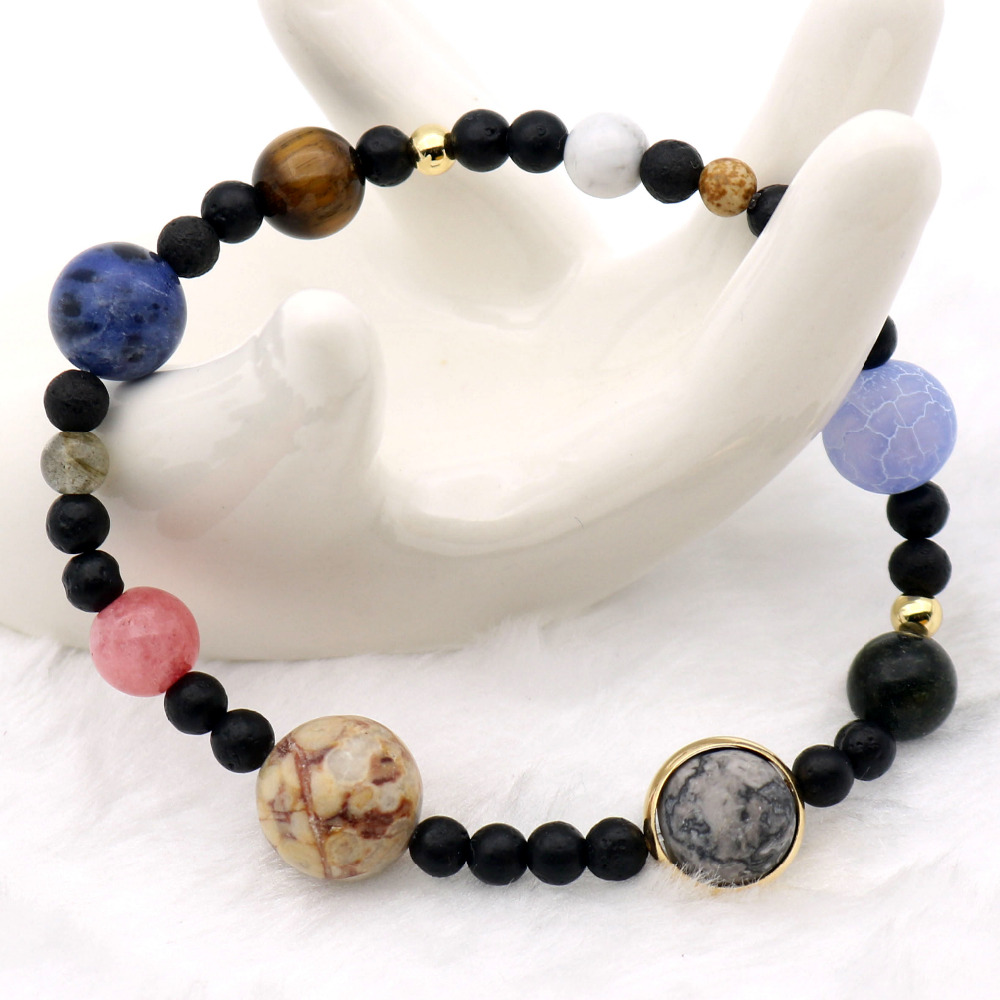 Solar System 9 Planets Universe Stars Women Office Style Natural Stones Beaded Stretch Strand Bracelets Saturn Pluto Earth Moon